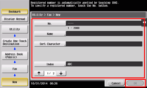 how to set registering one touch destinations in the address book