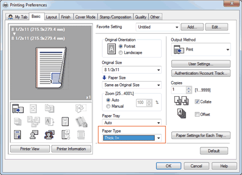 Epson l120 cannot change paper type