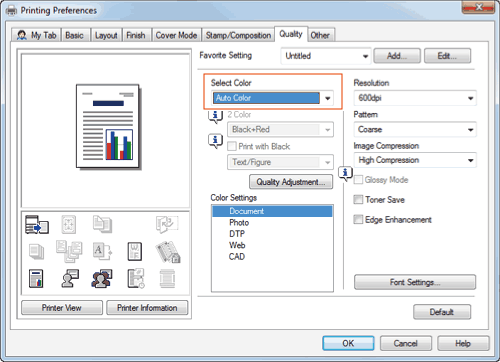 In Select Color The Quality Tab A Mode For Printing