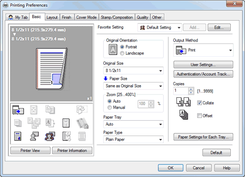 Printing Preferences Window Of The Printer Driver
