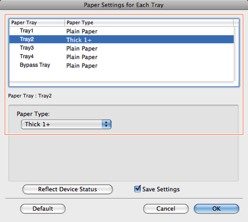 changing the paper size or type