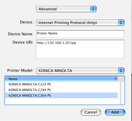 In Printer Model Select KONICA MINOLTA Then Click The Driver Of Desired From List