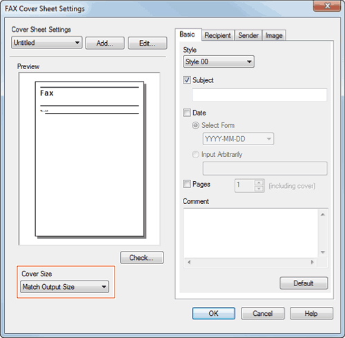Send a fax with a cover sheet select a size of cover sheet from the cover size spiritdancerdesigns Image collections