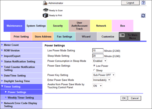 Setting the Power Key/Power Save Function