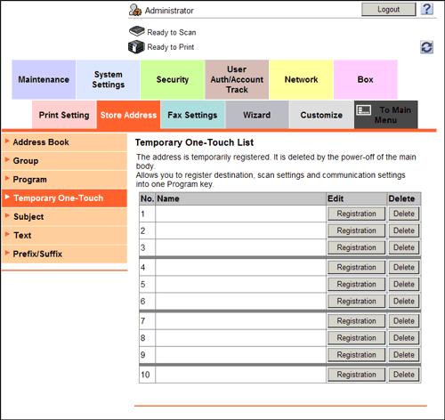 registering a temporary one touch destination konica minolta bizhub 363 user guide Konica Minolta Bizhub