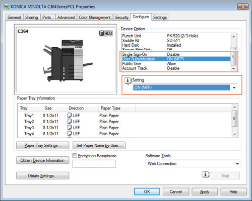 Enabling User Authentication or Account Track on the Printer