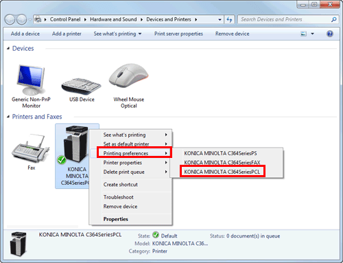 In Windows 7 8 81 Server 2008 R2 2012 Right Click The Icon Of Installed Printer And From Printing Preferences