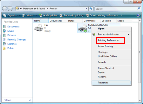 The Printing Preferences Window Of Printer Appears