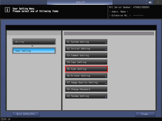 Scan Setting: Setting the Default Values for Scan Functions