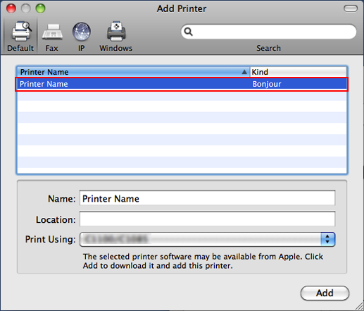 Adding a Printer by Selecting a Connection Method