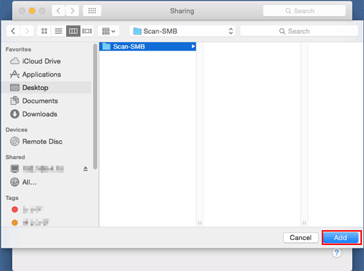 Scanner: Using Scan to SMB with Macintosh Shared Folder